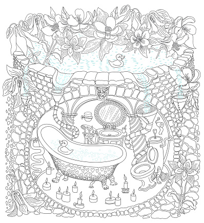Vector contour thin line illustration. Fairy tale lake with aquilegia flowers,  medieval underground house bathroom, apartment cave. Adults coloring book page, tee shirt print