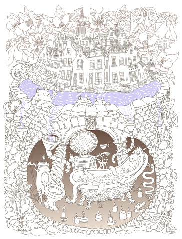 Vector contour thin line illustration. Fairy tale medieval houses, aquilegia flowers and underground bathroom in Dragon beast family apartment cave. Adults coloring book page, tee shirt print