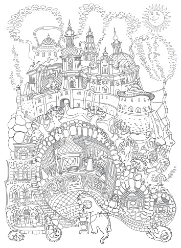 Vector contour thin line illustration. Fairy tale underground Dragon beast family apartment in the old medieval cave Kitchen. Black and white sketch. Adults coloring book page, tee shirt print