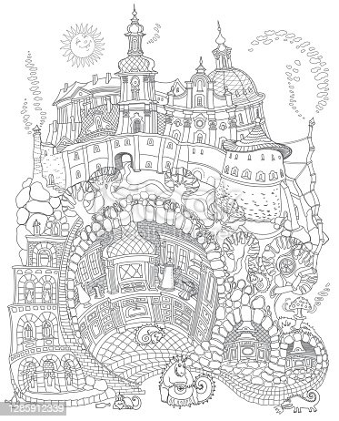 Vector contour thin line illustration. Fairy tale underground Dragon beast family street food cafe in the old medieval cave Kitchen. Black and white sketch. Adults coloring book page, tee shirt print