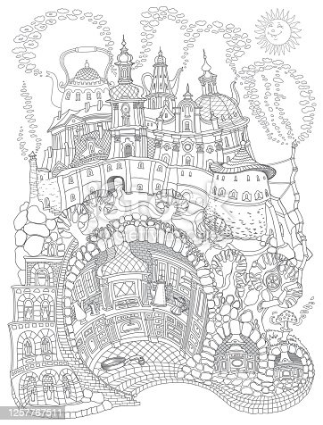 Vector contour thin line illustration. Fairy tale underground medieval Kitchen in the old cave apartment. Black and white sketch. Adults coloring book page, tee shirt print