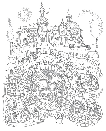 Vector contour thin line illustration. Fairy tale underground old medieval cave Kitchen in the street food cafe. Black and white sketch illustration. Adults coloring book page, tee shirt print