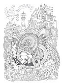 Vector contour thin line illustration. Ornate Dragon beast with three dragon eggs, sea waves, island, fairy tale castle, lighthouse. Black and white hand drawn sketch artwork. Adults coloring book page, tee shirt print, book cover