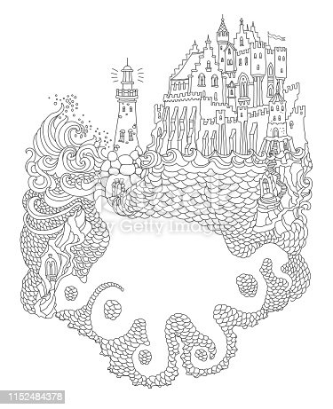 Vector contour thin line illustration.Silhouette of a giant octopus, ocean waves, island, fairy tale castle, lighthouse. Black and white hand drawn abstract sketch artwork. Adults coloring book page, tee shirt print
