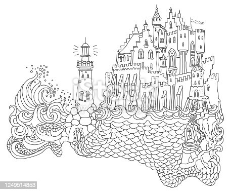 Vector contour thin line landscape illustration. Lighthouse island, fairy tale castle, sea waves. Black and white hand drawn sketch artwork. Adults coloring book page, tee shirt print