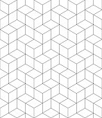 Vector contrast textured endless pattern with cubes, continuous