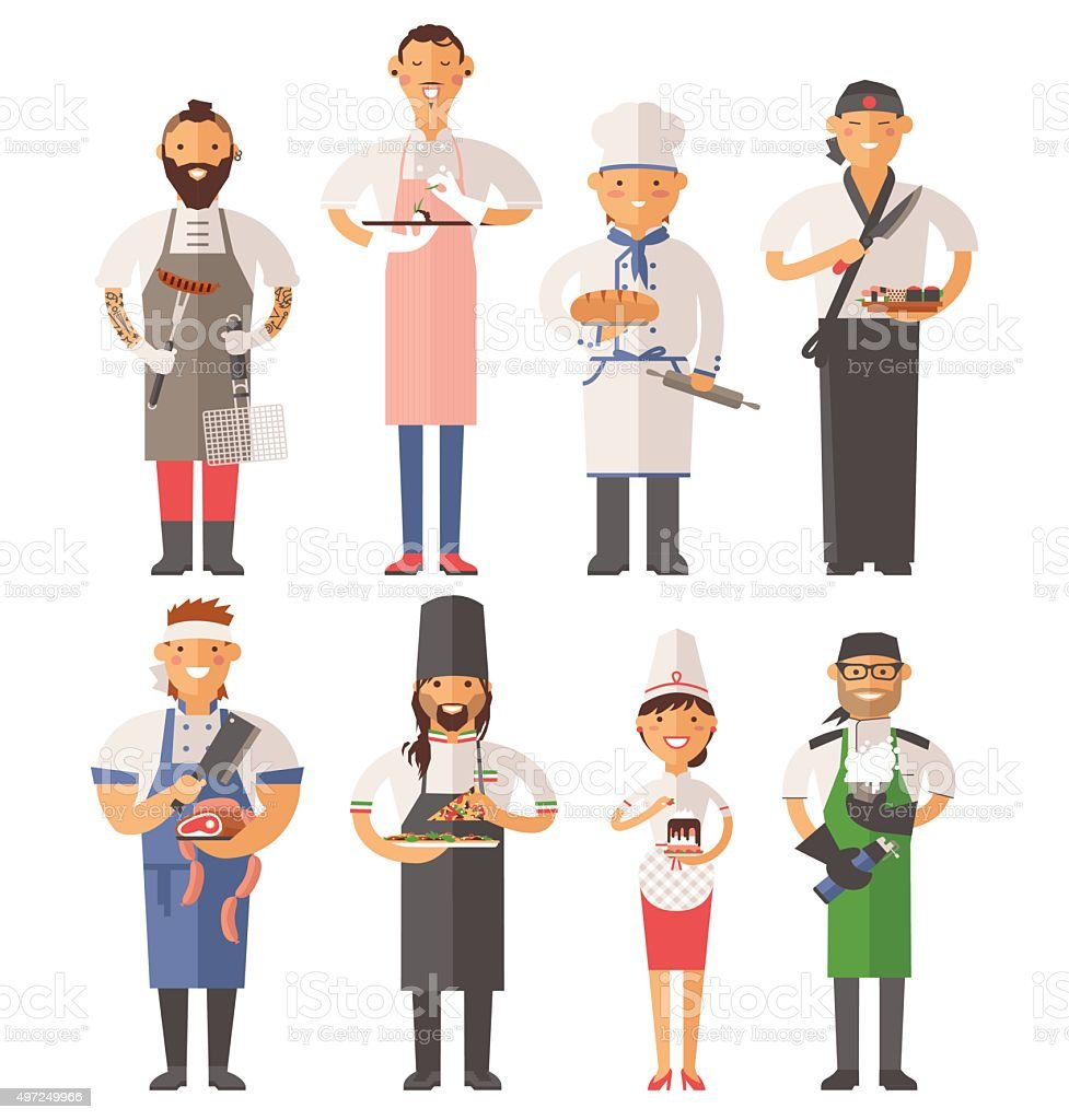 Vector cooking chefs people vector illustration vector art illustration