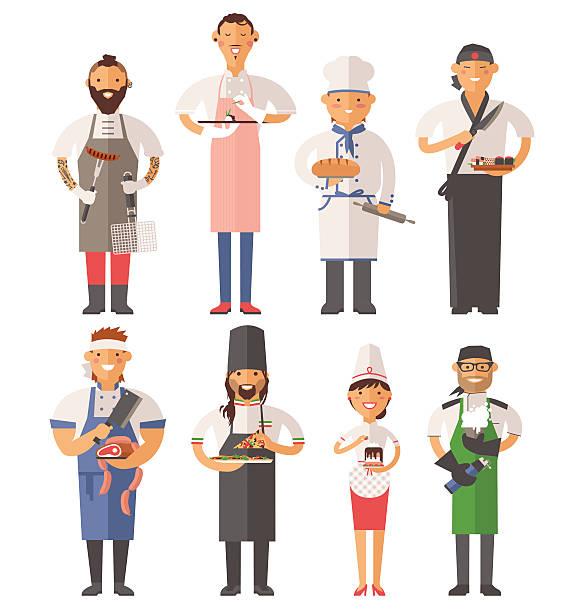 illustrations, cliparts, dessins animés et icônes de vector illustration vectorielle de chefs de cuisine personnes - boulanger