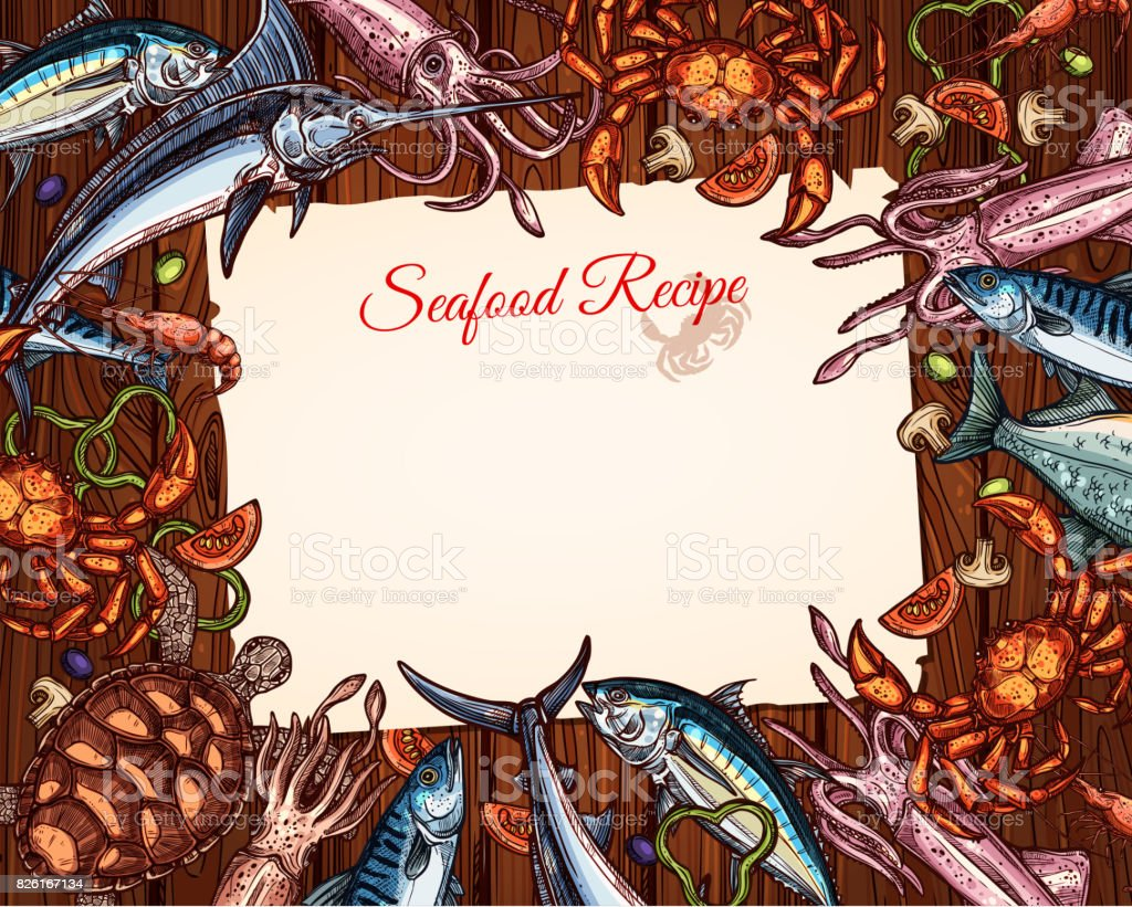 Vector cooking recipe template of seafood and fish vector art illustration