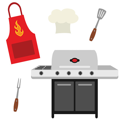 Vector Cookout Grill Utensils Apron Chef Hat Illustrations Stock Illustration - Download Image Now