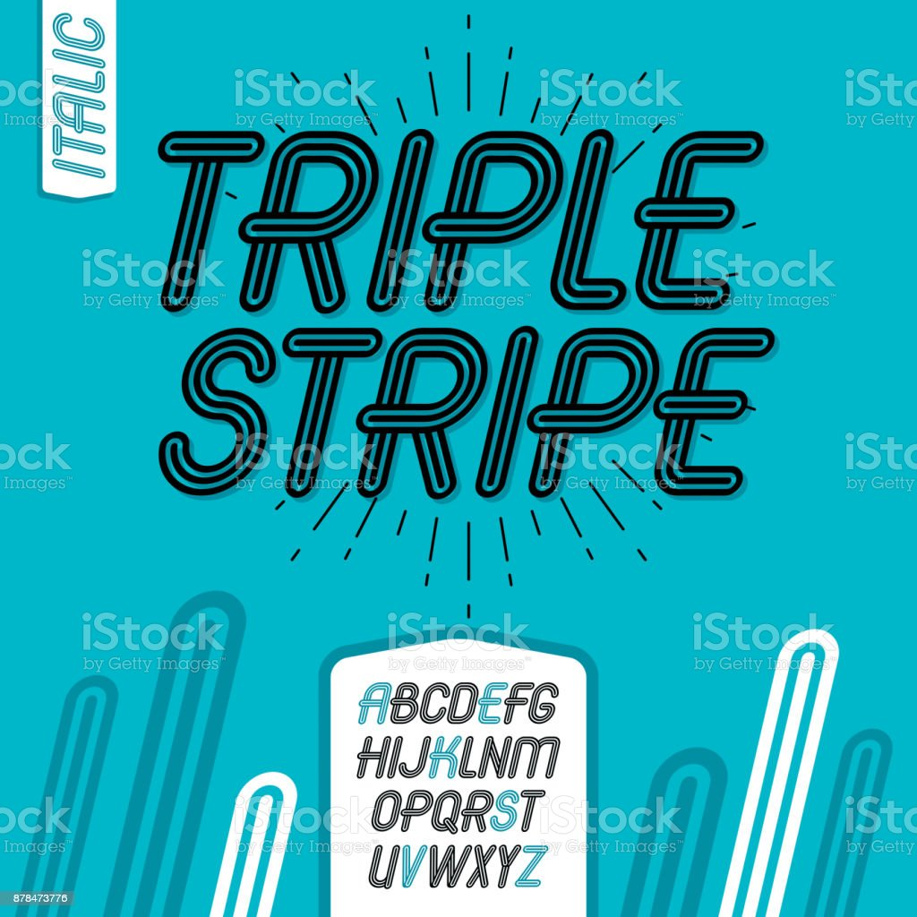Vector cool capital alphabet letters collection. Retro italic type font, script from a to z. Created using geometric triple stripes. vector art illustration