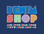 Jeans texture Font. Stylish Alphabet Letters, Numbers and Symbols for Fashion store