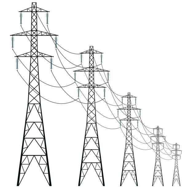 Royalty Free Transmission Tower Electric Clip Art, Vector