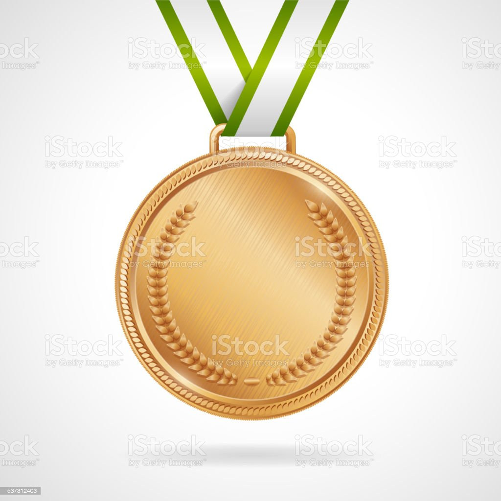 Vector copper medal with ribbon vector art illustration