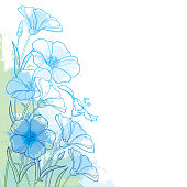 Vector corner bouquet with outline Flax plant or Linseed or Linum. Flower bunch, bud and leaf in pastel blue and green on the white background. Ornate contour Flax for summer design.