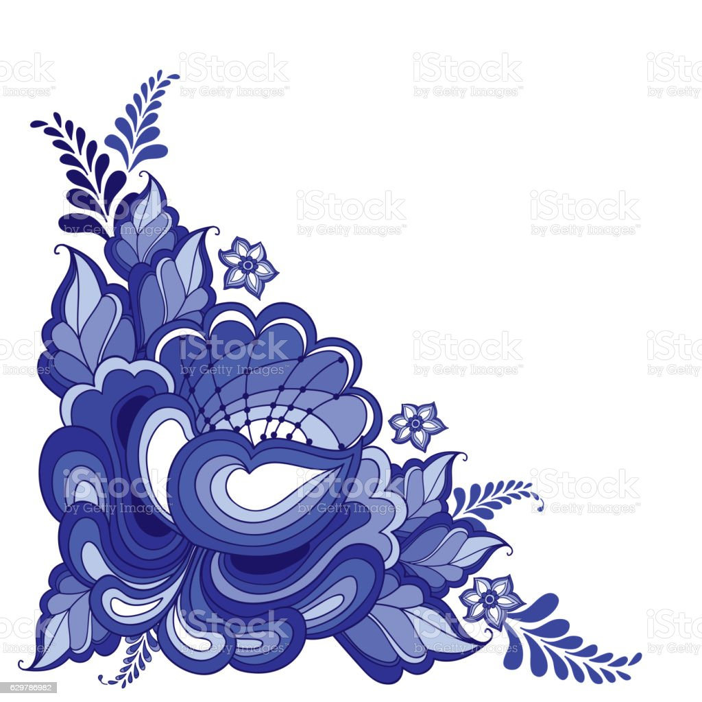 vector corner floral motif in traditional russian style gzhel isolated stock illustration download image now istock 2