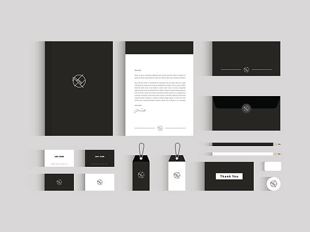 vector corporate identity mock up. black and white - stationery templates stock illustrations
