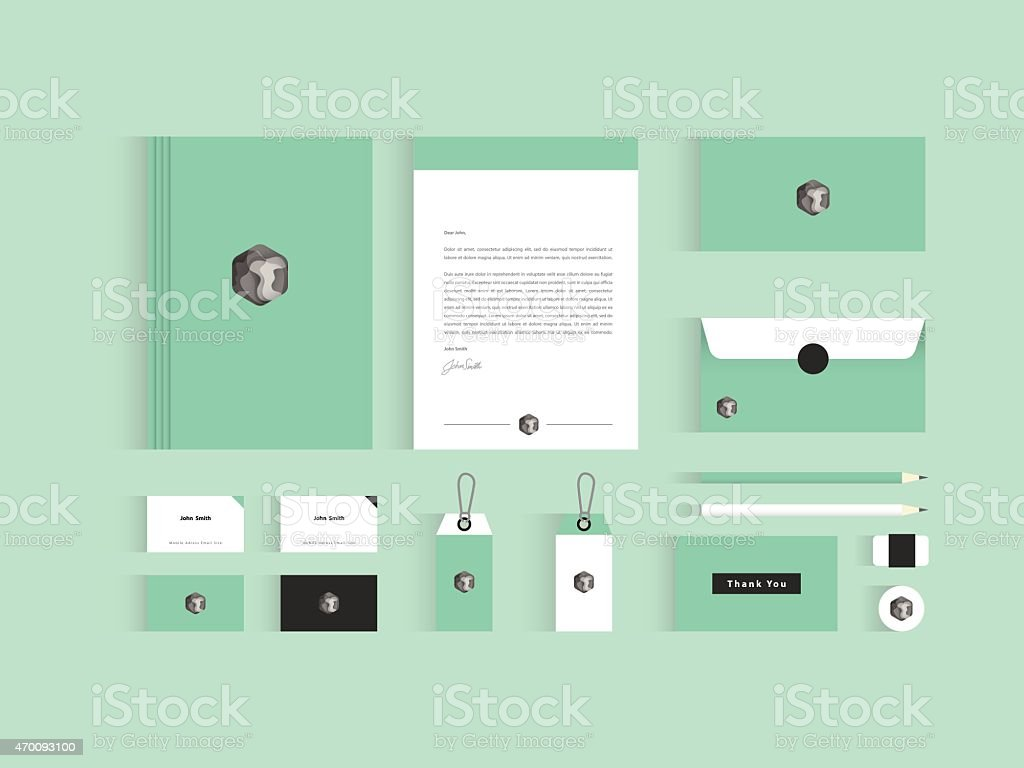 Vector corporate identity mock up. Green and grey color vector art illustration