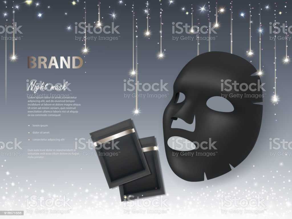 Vector Cosmetic Banner With Night Facial Mask Stock Illustration Download Image Now Istock
