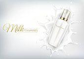Vector cosmetic banner with realistic bottle for skin care cream or body lotion. Beauty product, natural or organic cosmetics for face falling into creamy or milk splash crown on white background