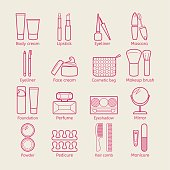 Vector cosmetic icons. Mascara, lipstick, powder, eye shadow, perfume, cream, foundation, eyeliner, mirror, hair comb and other make-up items. Makeup thin linear signs for manicure, pedicure and Visage.