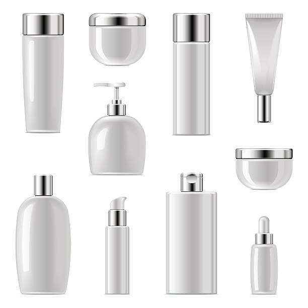 kosmetische verpackung vektor-icons set 2 - shampoos stock-grafiken, -clipart, -cartoons und -symbole