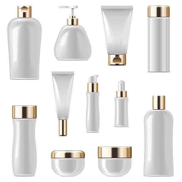 vector cosmetic packaging icons set 3 - shampoos stock-grafiken, -clipart, -cartoons und -symbole