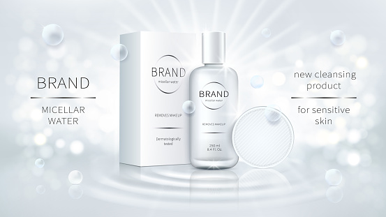 Vector cosmetic promo for micellar water