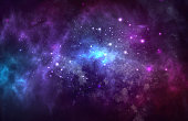 istock Vector cosmic illustration. Beautiful colorful space background. Watercolor Cosmos 1203818959
