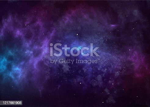 istock Vector cosmic watercolor illustration. Colorful space background with stars 1217661905