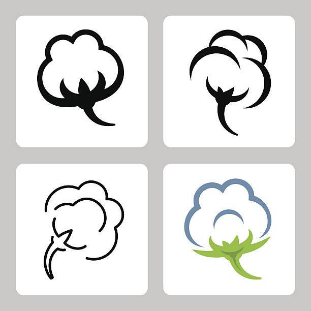 vector cotton icons set - cotton stock illustrations, clip art, cartoons, & icons