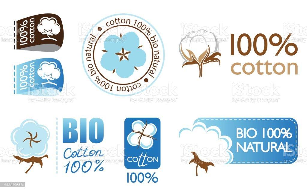 Vector cotton icons set vector art illustration