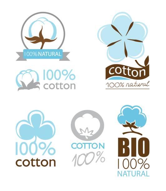Vector cotton icons set Vector cotton icons set collection logo cottonwood tree stock illustrations