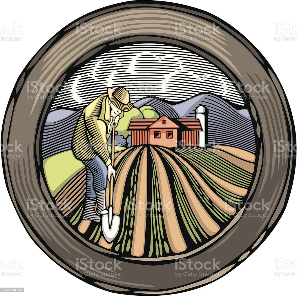 Vector Countrylife and Farming Illustration in Woodcut Style vector art illustration