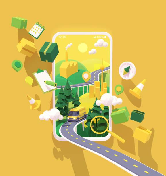 Vector courier delivery service app illustration vector art illustration