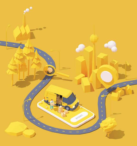 Vector courier delivery service illustration vector art illustration