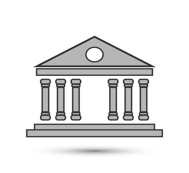 vector gerichtsgebäude. klassisches bausymbol. für design, website-design, logo, app, ui. - hoftheater stock-grafiken, -clipart, -cartoons und -symbole