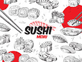 Japanese sushi, sashimi and rolls with chopsticks. Cover for restaurant menu with traditional asian food. Vector hand drawn sketch illustration.