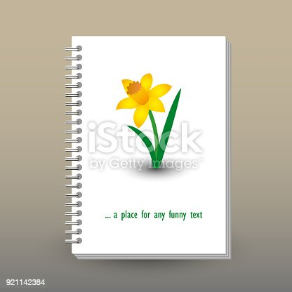 istock vector cover of diary or notebook with ring spiral binder - format A5 - layout brochure concept spring flower daffodil 921142384