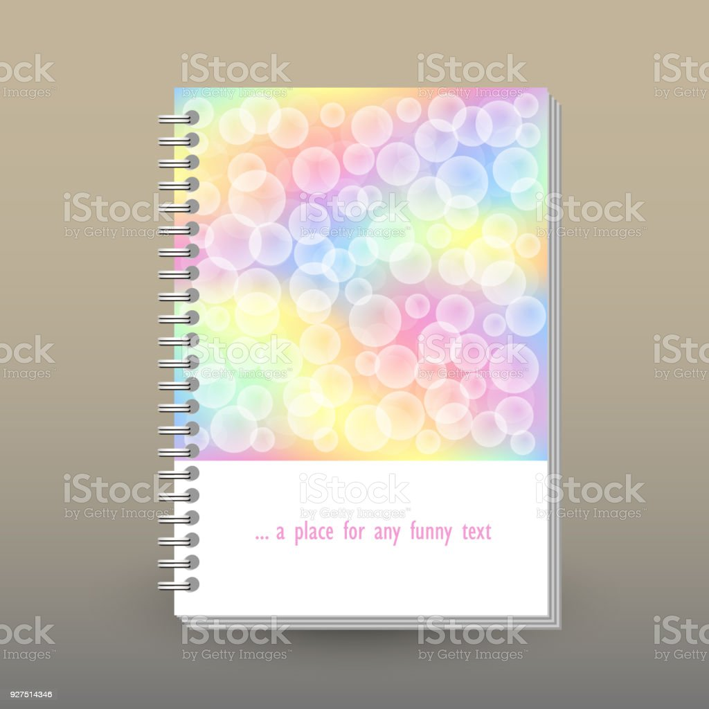 vector cover of diary or notebook with ring spiral binder layout
