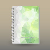 istock vector cover of diary or notebook with ring spiral binder layout brochure concept lihgt green triangular 927514352