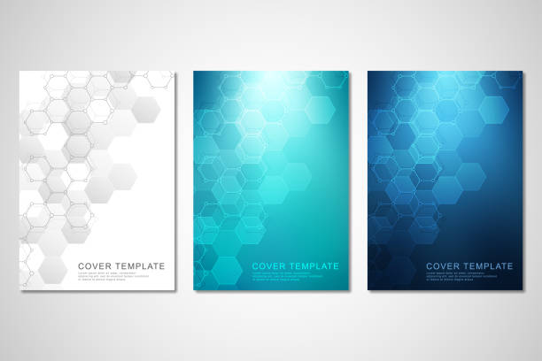 Vector covers or brochure for medicine, science and digital technology. Geometric abstract background with hexagons pattern. Molecular structure and chemical compounds. Vector covers or brochure for medicine, science and digital technology. Geometric abstract background with hexagons pattern. Molecular structure and chemical compounds hexagon stock illustrations
