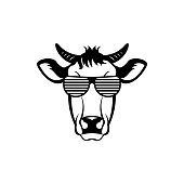 Vector cow head, face  for retro hipster icons, emblems, badges, labels template and t-shirt vintage design element. Isolated on white background