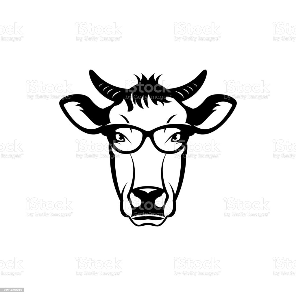 vector cow head face for retro hipster icons emblems badges labels