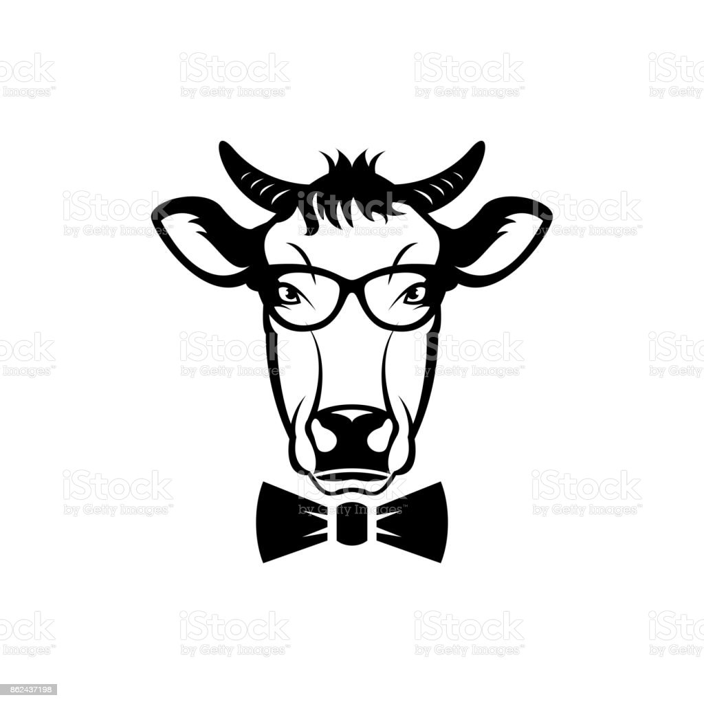 Vector Cow Head Face For Retro Hipster Icons Emblems Badges Labels ...
