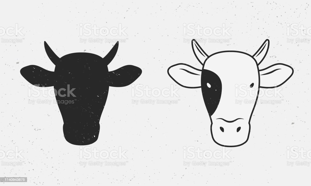 Vector Cow Head In Vintage Style Cow Head Silhouette Vintage Design
