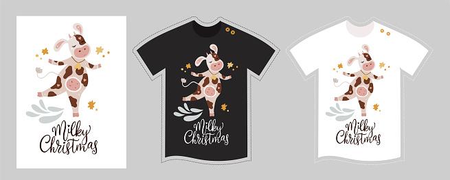 Vector cow t shirt design template.