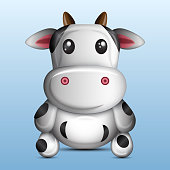 3D cute cow, vector illustration graphic