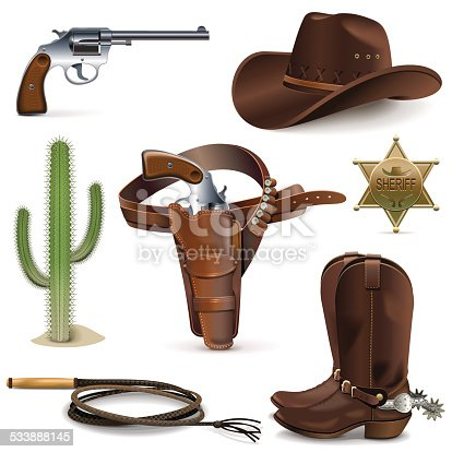 Vector Cowboy icons, including hat, shoes and others western attributes, isolated on white background