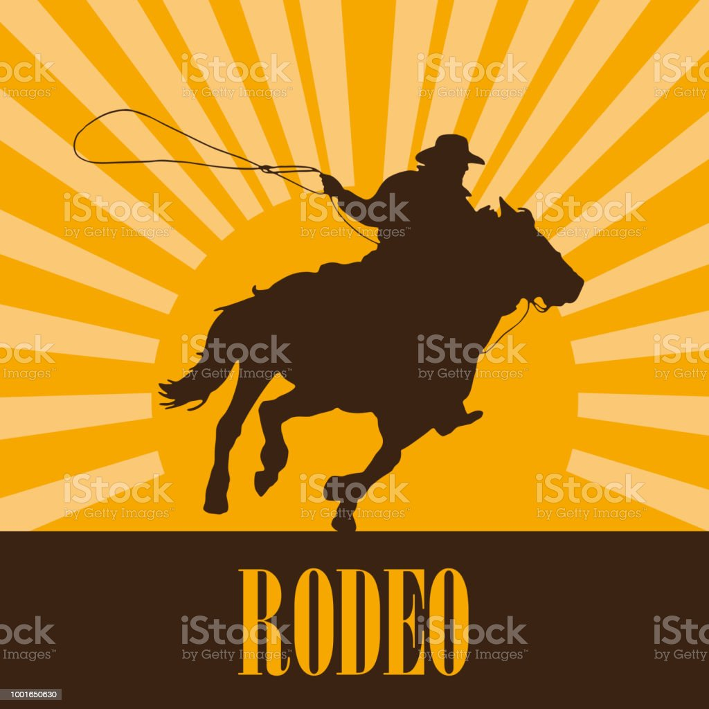 Vector cowboy on sunset